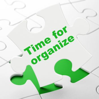 Timeline concept: Time For Organize on puzzle background
