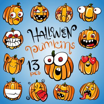Set of 13 Stickers With Halloween Pumpkins or Smiles as traditional simbols for design and decoration, Vector Illustration