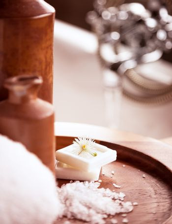 Beautiful spa still life at the bathroom, aromatherapy procedure in the wellness hotel, day spa concept