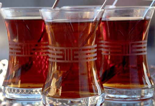 Tea served in Turkish style. Food & Beverages, Tea - Hot Drinks