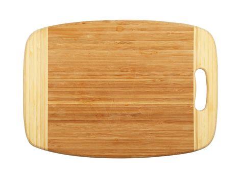 Rectangular bamboo wood cutting board isolated