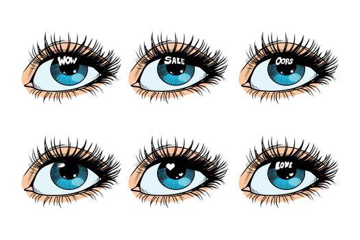 Female eye set glare in the pupil