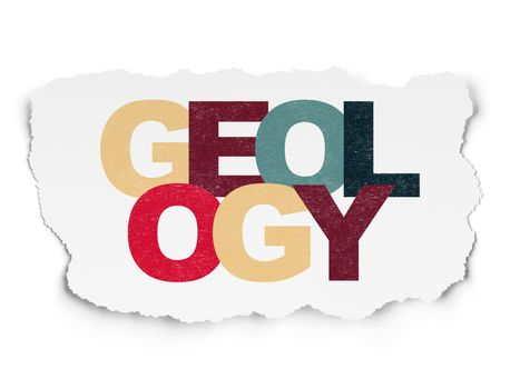 Learning concept: Geology on Torn Paper background