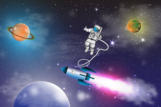 Space exploration with retro rocket planets ,stars and astronaut on space background with rays and flares vector illustration.