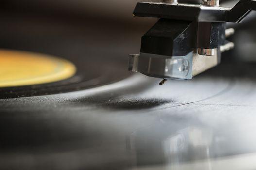 Vintage turntable with LP vinyl record