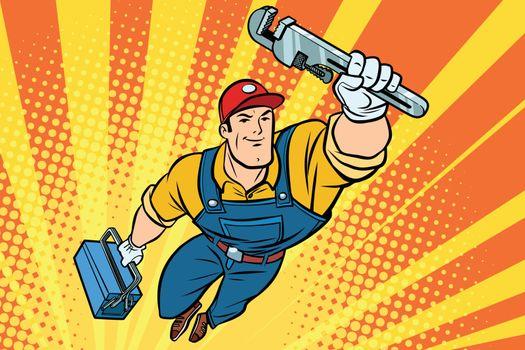 Worker plumber superhero flying