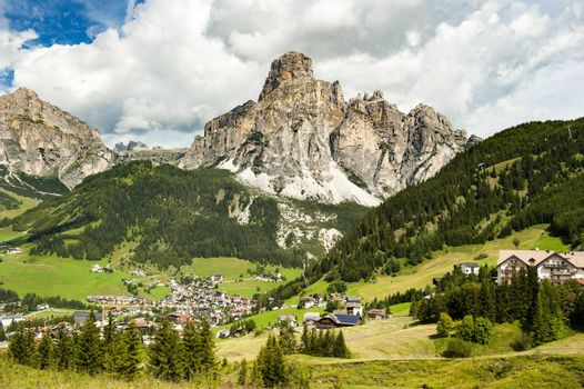 the panorama of Corvara  in the Dolomites