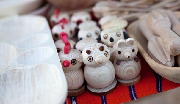 Wooden toys in a bazaar