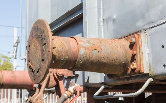 Decaying railroad car bumper stop