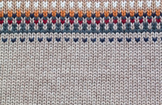 Grey and beige realistic knitting pattern