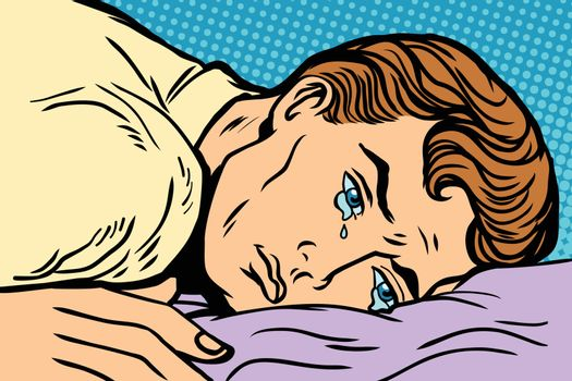 man lying on bed, depression grief and sadness