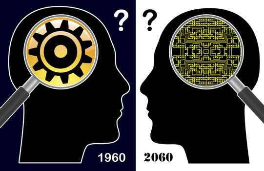 Humorous concept sign of how the digital era changes the human brain and the way of thinking