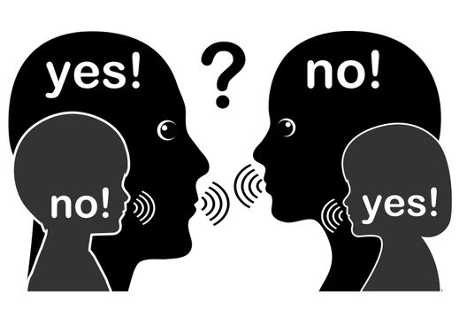 Adults in oppositions with their inner self while communicating with each other