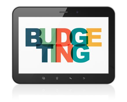 Finance concept: Tablet Computer with Budgeting on  display
