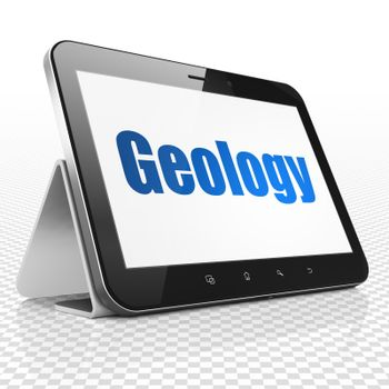 Studying concept: Tablet Computer with Geology on display