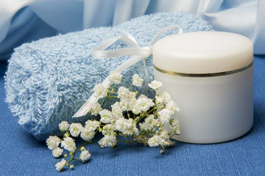 products for body care on blue background