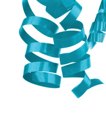Three Turquoise Hanging Curly Party Streamers Isolated on White background