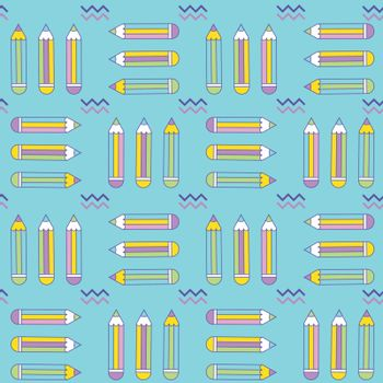 vibrant seamless pattern with pencils in memphis style