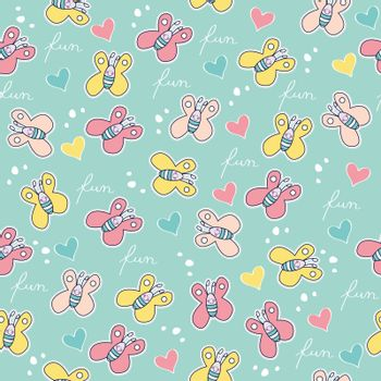 seamless pattern with doodle butterflies