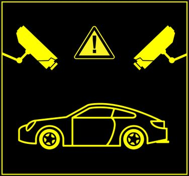 Security cameras monitor parking lots or underground parking