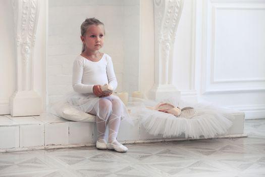 Little Ballerina. Dancer Girl Wearing White Tutu
