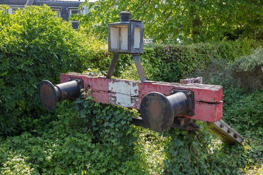 Decaying railroad bumper stop