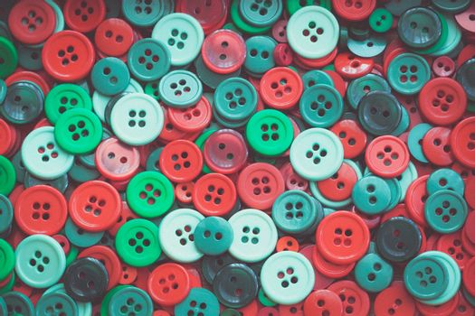 Christmas colour sewing buttons. Toned. Vintage.
