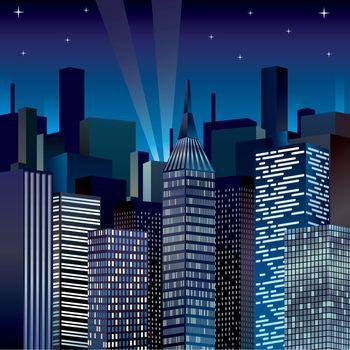 Night Cityscape Vector illustration clip-art image