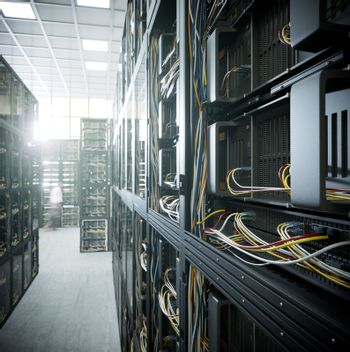 servers and hardware room computer technology concept photo