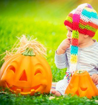 Pretty child celebrating Halloween