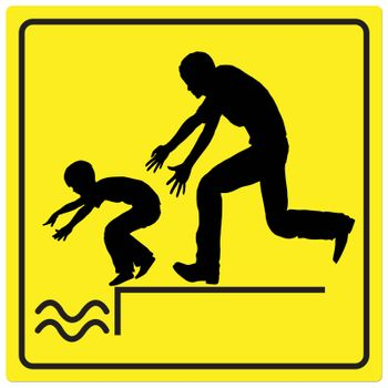 Watch your child by the water, it is dangerous to leave him or her unattended