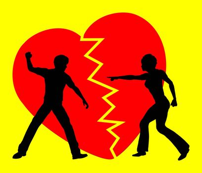 Concept sign of a couple breaking off the relation since love turned into violence and rancor