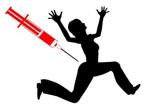 Humorous concept sign of woman with needle phobia
