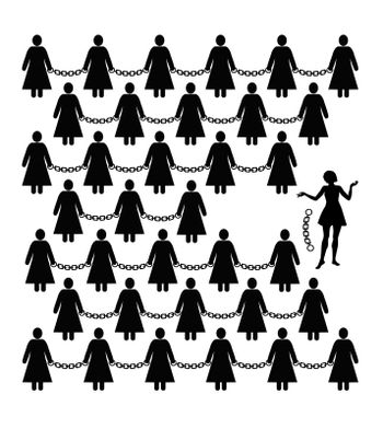Concept sign for women´s liberation against discrimination and freedom