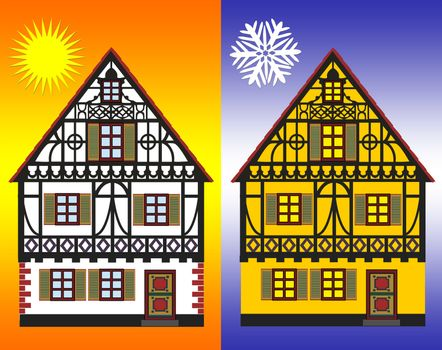 Concept sign for energy efficiency improvements of homes in winter and summer