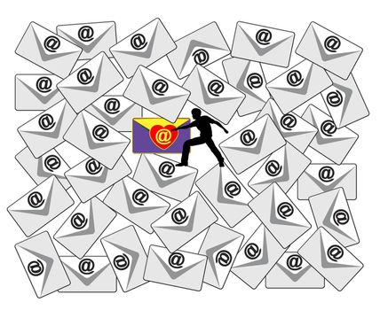 Concept sign of a person searching through a flood of emails for a special love message