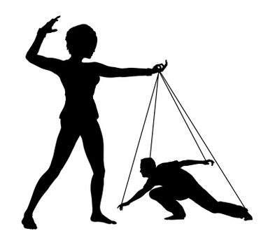 Woman treating man like marionette, concept sign of humiliation and domination