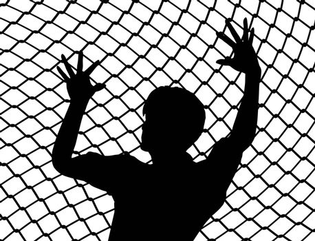 Destitute person behind the fence as prisoner of war symbol