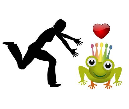 Humorous concept sign of a woman chasing for the dream man referring to the fairy tail of the Prince Frog