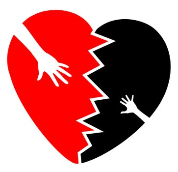 Concept sign and symbol for the grief about the death or the separation of a child