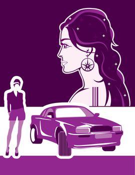 Thin girl driver vector illustration clip-art image