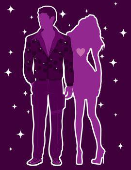 Couple date night vector illustration clip-art image