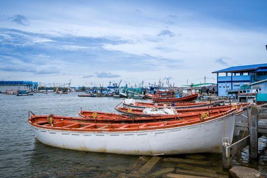Fishing boats port near Pattaya inThailand