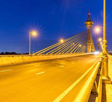 Bridge in Nonthaburi Thailand Sunset