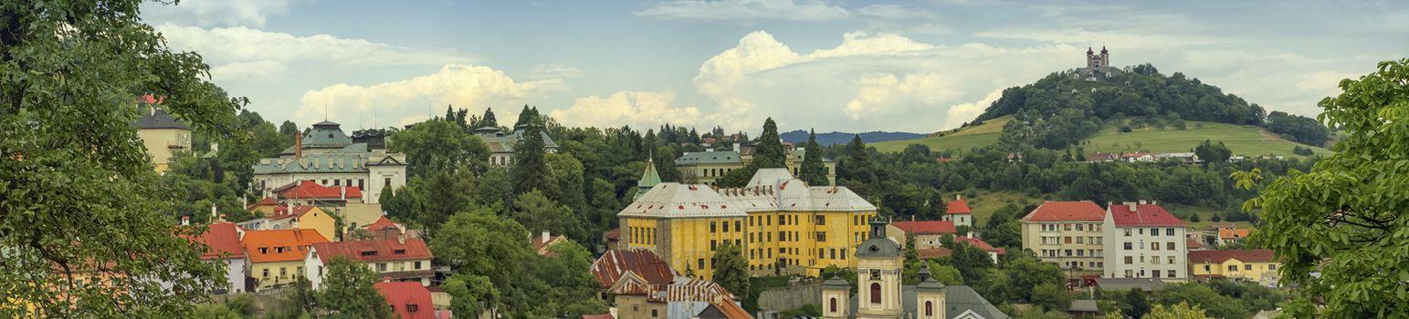 Baroque calvary and Banska Stiavnica, Slovakia