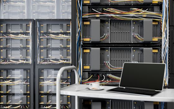 servers and hardware room with notebook and coffee cup computer technology closeup photo