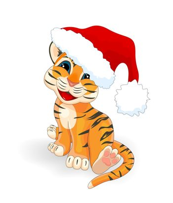 Little tiger with a Santa Claus hat on a white background.