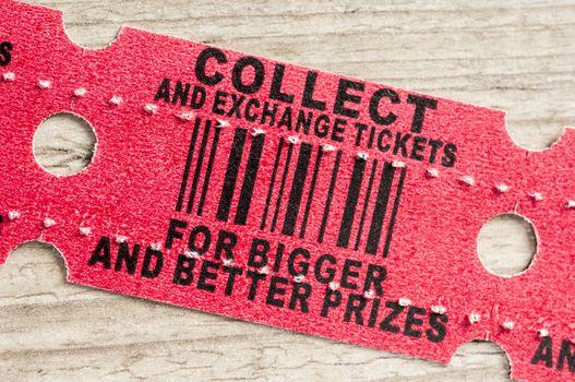 Red arcade prize ticket