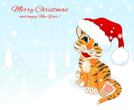 Christmas card with a little tiger cub. Greeting card with a tiger. Little tiger with a Santa Claus hat on a winter background.