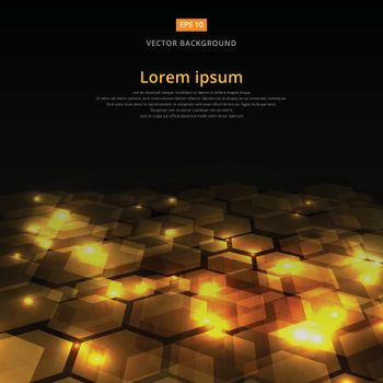 Abstract golden shine hexagon geometric ground perspective on dark background, Vector illustration